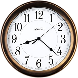 8.5 Inch Simply High-end Plastic Decorative Wall Clock, Water Resistant, Special for Small Space, Office, Boats, RV (W86011 Vintage Bronze)