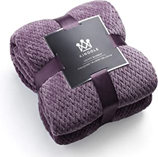 Kingole Flannel Fleece Luxury Throw Blanket, Lavender Purple Queen Size Jacquard Weave Pattern Cozy Couch/Bed Super Soft and Warm Plush Microfiber 350GSM (90 x 90 inches)