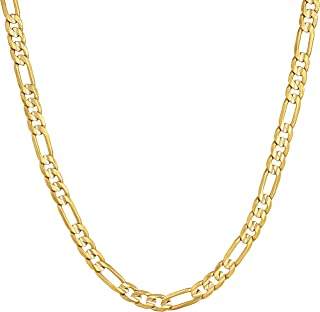 4mm Figaro Chain Necklace 24k Gold Plated for Men Women &...