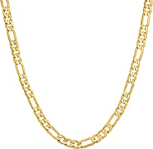 Lifetime Jewelry 4mm Figaro Chain Necklace 24k Gold Plated for Men Women & Teens