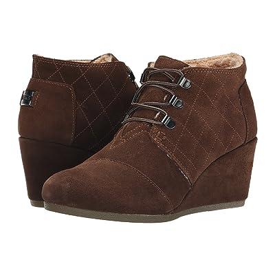 TOMS Desert Wedge (Chocolate Brown Suede w/Shearling) Women
