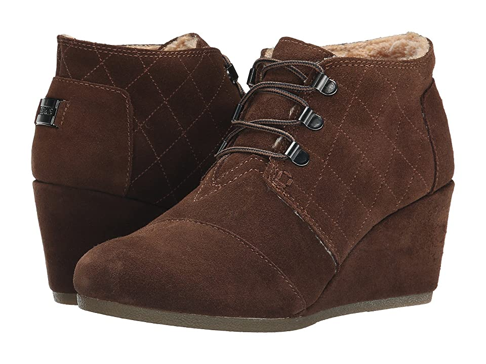 TOMS Desert Wedge (Chocolate Brown Suede w/Shearling) Women