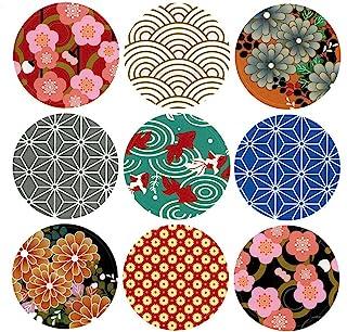ALIMITOPIA Japan Style Sealing Sticker,Round Japanese Traditional Pattern Self-Adhesive Universal Sealing Paster Gift Pack...