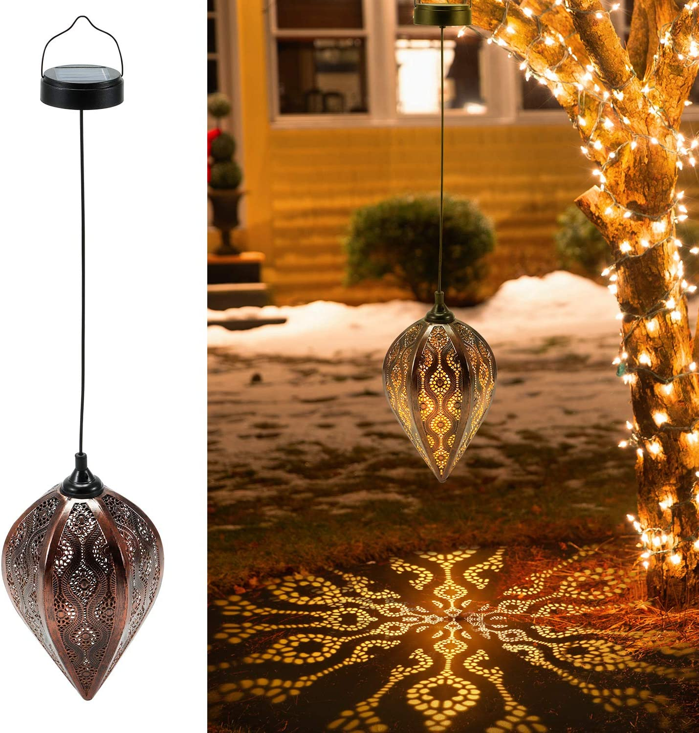 2 Pack Hanging Solar Lanterns, OxyLED Solar Garden Lanterns Outdoor, LED Lanterns Solar Powered Waterproof, Decorative Retro Metal Solar Lights with Handle for Patio Yard Tree Fence Christmas