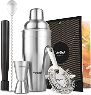 VonShef 5pc 19oz Manhattan Cocktail Shaker Bartender Set Stainless Steel with Bar Spoon, Hawthorne Strainer, 1oz Measuring Jigger, Muddler, Recipe Book and Gift Box