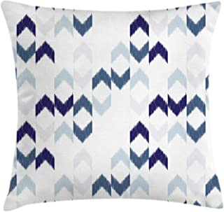 Ambesonne Navy Throw Pillow Cushion Cover, Abstract Ikat Chevron with Hazy Zigzag Folk Traditional Image, Decorative Square Accent Pillow Case, 18
