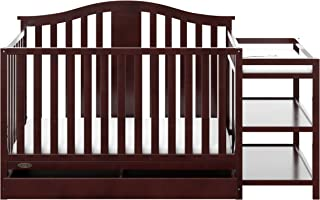 Graco Solano 4-in-1 Convertible Crib and Changer with Drawer Espresso, Fixed Side Crib, Solid Pine and Wood Product Construction, Converts to Toddler Bed Day Bed or Full Bed (Mattress Not Included)