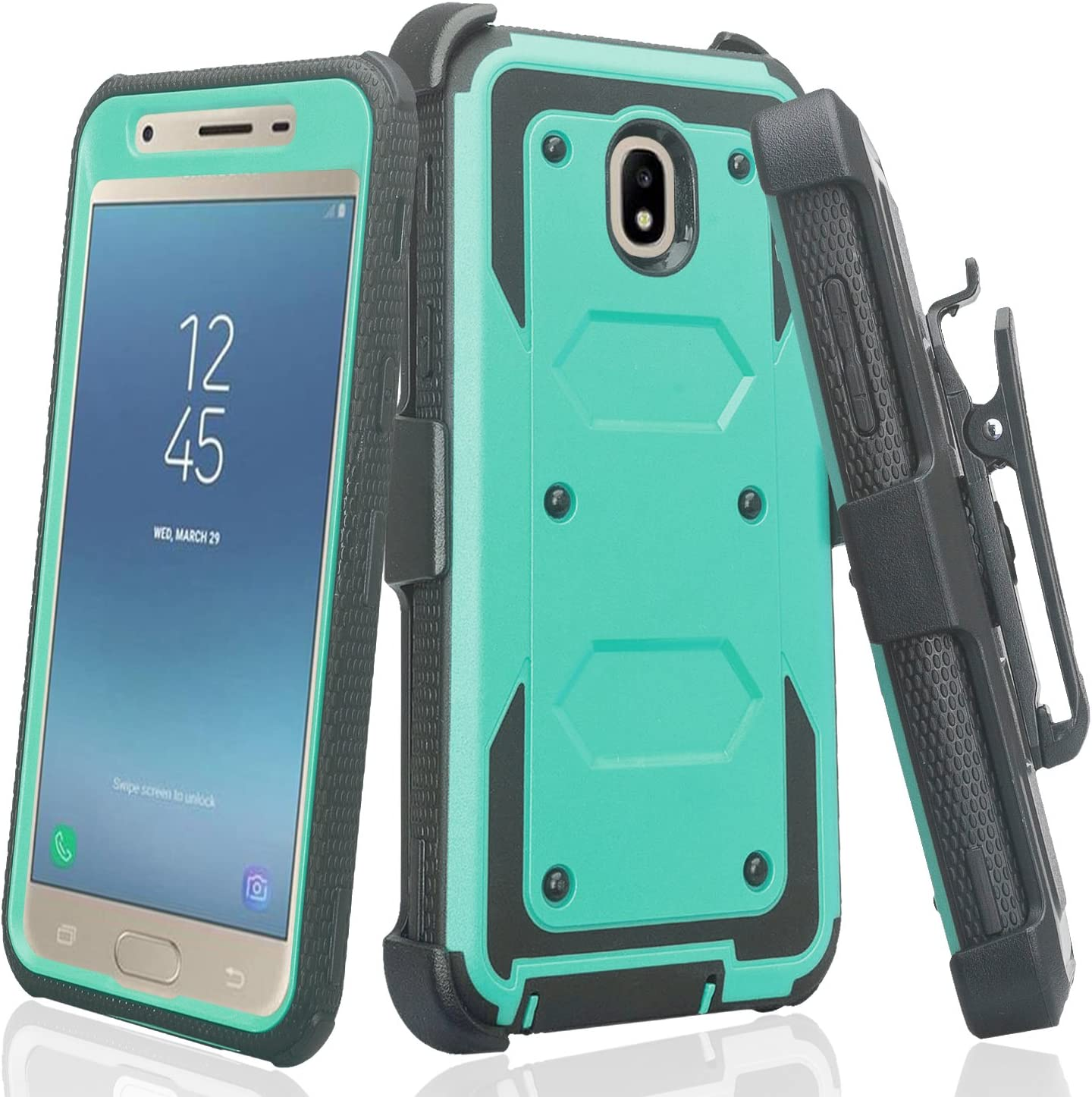 Galaxy J3 Orbit/J3 2018/J3 Star/J3 Achieve/J3v 3rd Gen/Express Prime 3/Amp Prime 3 Case,Holster Belt Clip Cover Shock Proof [Built in Screen Protector] Compatible for Samsung J3 Orbit Cases - Teal