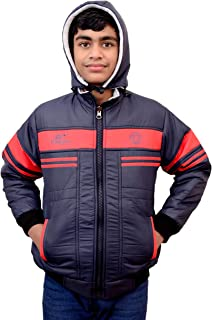 EK UDAAN -Boys Woollen Poly-Fill Reversible Hooded Jacket Blue Colour with Assorted Multi Colour Strip FIT for 11-12 Year Kids (Height up to 4.5 feet)