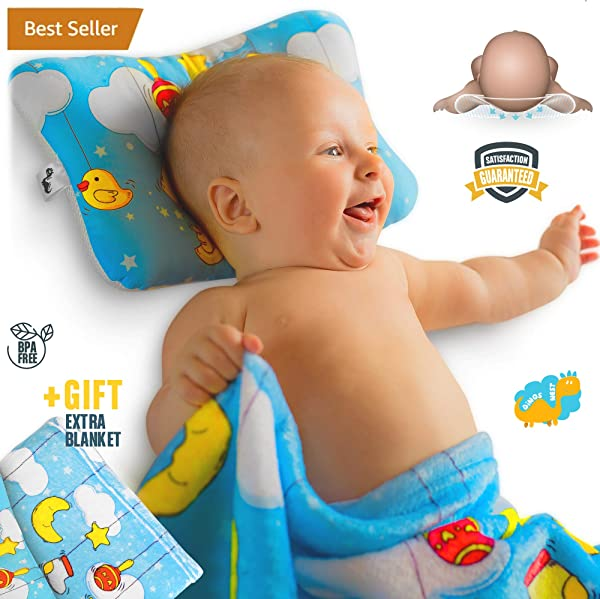 Baby Flat Head Shaping Pillow Unique Design Pack With New Born Sleeping Pillow And Blanket Made With Comfortable Organic Cotton Breathable Air Mesh Soft Neck Support Preventing Reflux And Flathead