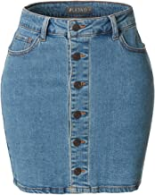 LE3NO Womens Stretchy Vintage Distressed Denim Skirt with Pockets