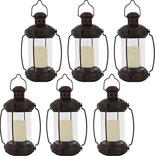 wholesale Sunnydaze Outdoor Antique Hanging Solar Lantern with popular LED Light and Candle - 12-Inch - Set high quality of 6 outlet online sale