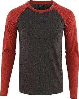 Men's Casual Basic Active Sports Raglan Long Sleeve Baseball T-Shirt