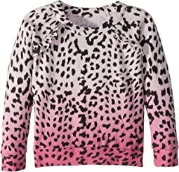 Super Soft Love Knit Pink Ombre Leopard Print Pullover (Toddler/Little Kids)