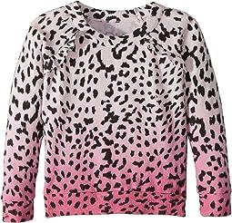 Super Soft Love Knit Pink Ombre Leopard Print Pullover (Toddler/Little Kids)