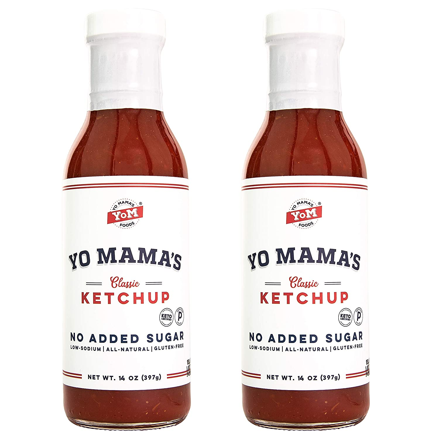 Keto Classic Ketchup by Yo Mama's Foods – Pack of (2) - No Sugar Added, Low Carb, Vegan, Gluten Free, Paleo Friendly, and Made with Whole Non-GMO Tomatoes!
