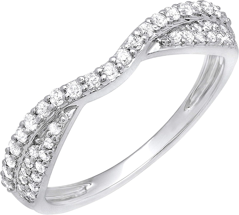 Dazzlingrock Collection 0.32 Carat (ctw) Round White Diamond Ladies Bridal Wedding Stackable Band 1/3 CT, 14K Gold