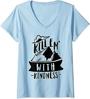 Womens Kill Em With Kindness Anti Bullying Kind Orange Unity Day V-Neck T-Shirt