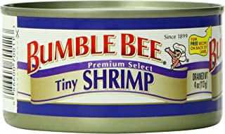 BUMBLE BEE Tiny Shrimp, High Protein Food, Keto Food and Snacks, Gluten Free Food, High Protein Snacks, Bulk Canned Shrimp, 4 Ounce Cans (Pack of 12)