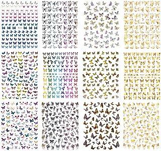 HomeChi Pegatinas de uñas, 12 hojas de pegatinas coloridas de mariposa para decoración de uñas, calcomanías para acrílico ...