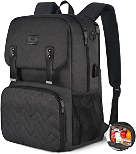 Lunch Backpack for Women, Insulated Cooler Laptop School Bookbag with USB Charging Port for Men Boys Girls Students, Durable Reusable Waterproof College Computer Work Bag Fits 15.6 Inch Notebook
