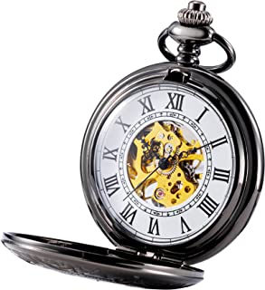 TREEWETO Mens Classic Mechanical Steampunk Pocket Watch Black Case Roman Numerals, White