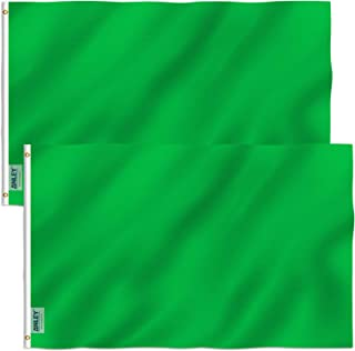 Best Anley Pack of 2 Fly Breeze 3x5 Foot Solid Green Flag - Vivid Color and Fade Proof - Canvas Header and Double Stitched - Plain Green Flags Polyester with Brass Grommets 3 X 5 Ft Review