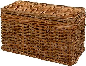 korb.outlet Robuste Truhe aus dickem Rattan-Naturmaterial/Holztruhe Holz-Kiste rechteckig aus echtem Rattan/Aufbewahrungs-Truhe Spielzeug-Box Auflagen-Kiste (Groß)