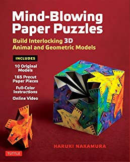 Mind-Blowing Paper Puzzles Kit: Build Interlocking 3D Animal and Geometric Models