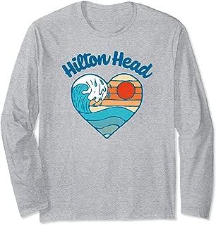 Hilton Head Beach Lover Retro Heart Surf & Wave Graphic Long Sleeve T-Shirt
