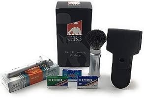 GBS Travel Shaving Set - Futur 700 Matte Adjustable Safety Razor + Matte Silver Travel Shave Brush Badger Bristles + Leather Protective DE Razor Case + 25 Replacement Double Edge Razor Blades