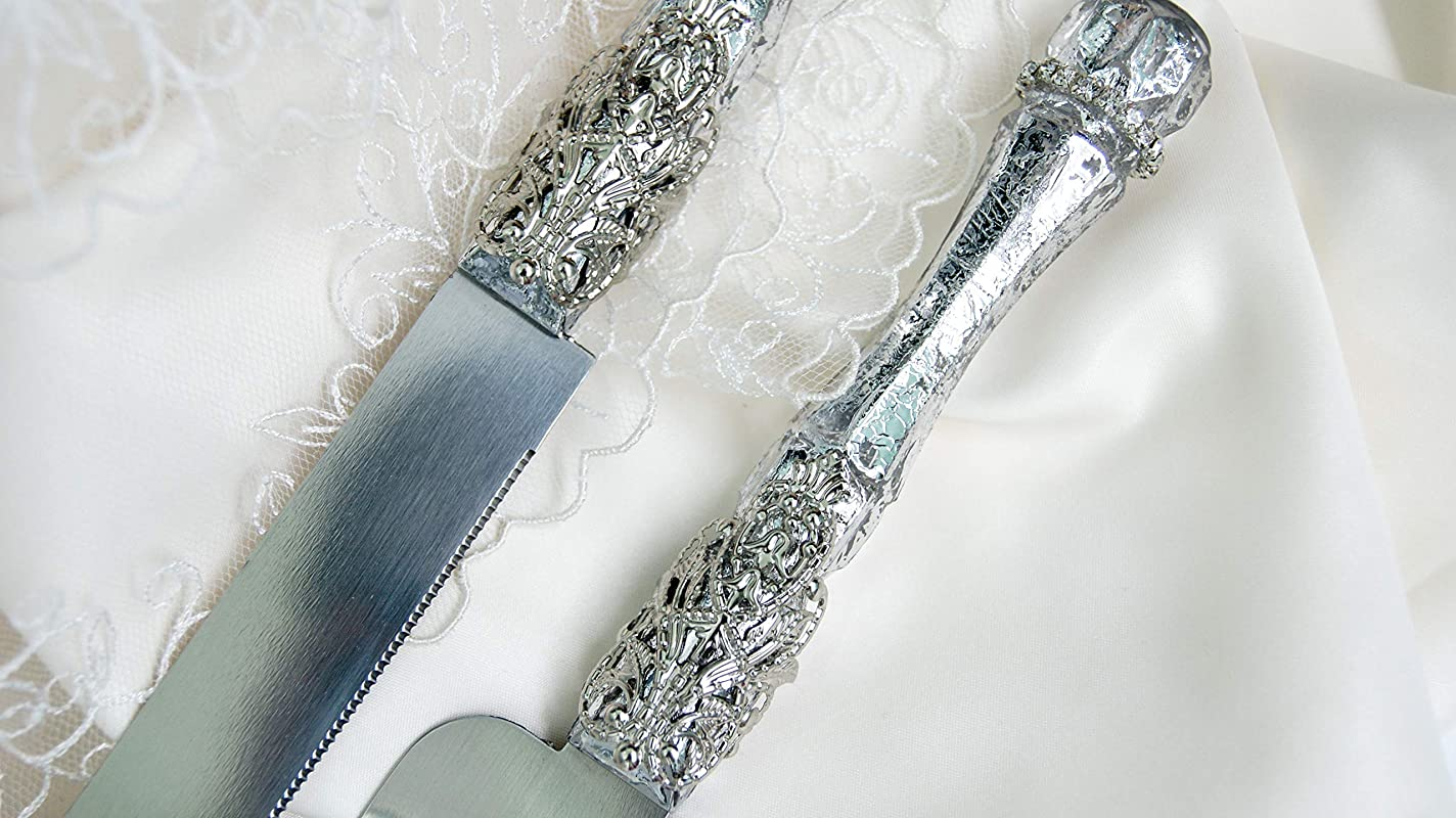 Silver Cake Server And Knife Set For Wedding Personalized Cake Cutter And Server Engraved Wedding Cake Serving Set Bling Cake Cutting Set