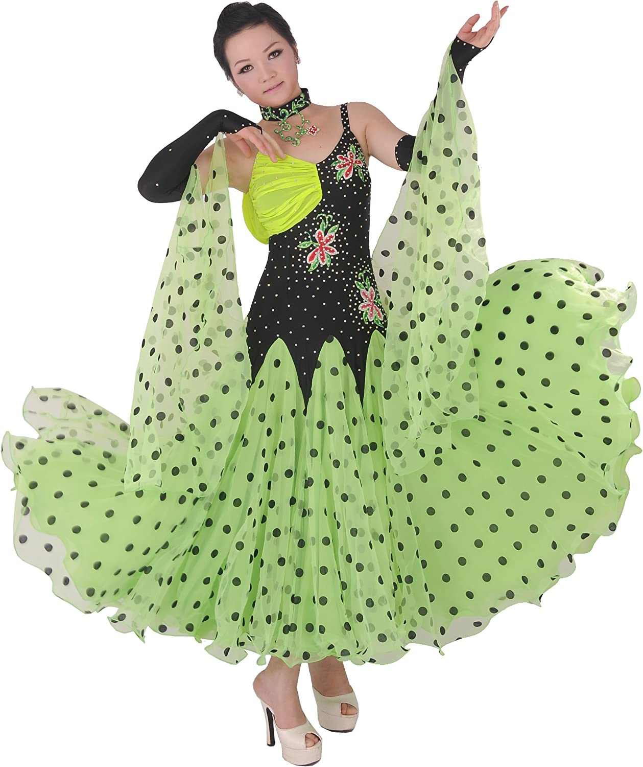 colorfulworldstore Tailored women Ballroom Modern Waltz Tango Dance Dress Black+Green