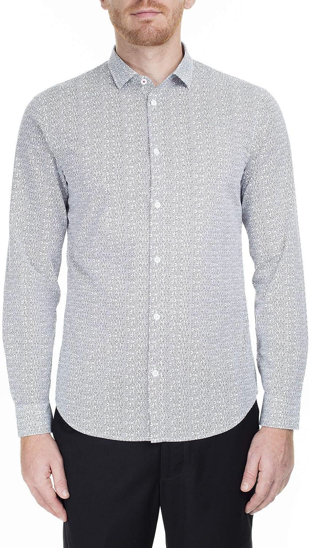 AX Armani Exchange Men's Cotton Long Sleeve Button Down Collared Dress Shirt