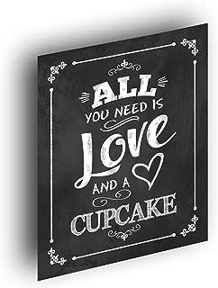 Chalkboard Wedding Print - All You Need is Love and a Cupcake Wedding Print - 8x10 Rustic Chalkboard Wedding Sign