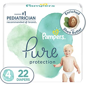 Diapers Size 4, 22 Count - Pampers Pure Protection Disposable Baby Diapers, Hypoallergenic and Unscented Protection, Jumbo Pack