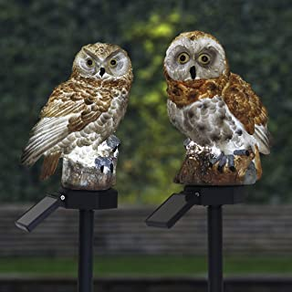 TERESA'S COLLECTIONS Set of 2 Owl Garden Statues with Solar Light and Solar Stake for Outdoor Patio Yard Decorations