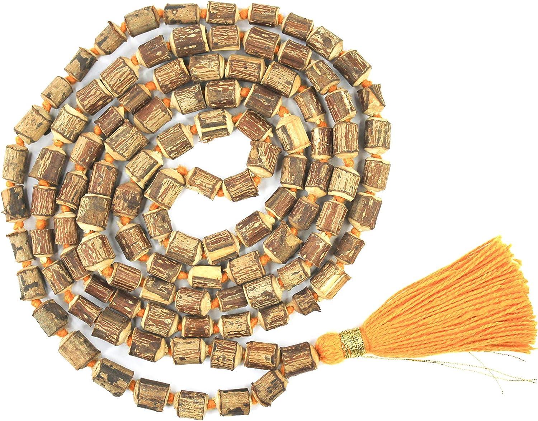 IS4A Natural Hare Krishna Tulsi Wood Holy Basil Mala 108+1 Hindu Japa Necklaces Meditation Beads Rosary