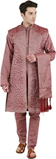 Men's Dress Sherwani Embroidered Kurta Pajama, Jacket and Stole Set