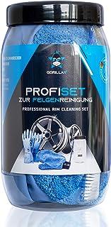 GORILLAR Profi Set zur Felgenreinigung, Mikrofaser Felgenhandschuh, Latexhandschuhe, Felgenbürste und Anti Schmutz Dose, für die Reinigung der Felgen