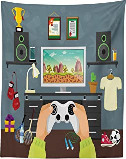Lunarable Gamer Tapestry Twin Size, Gaming Guy in His Flat with Diplomas Loud Speakers Boxing Gloves Jump Rope and Trophy, Wall Hanging Bedspread Bed Cover Wall Decor, 68