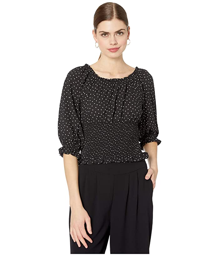 1.STATE  3/4 Sleeve Scatter Dot Smocked Waist Blouse (Rich Black) Womens Clothing