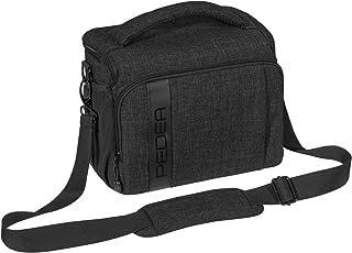 kameratasche systemkamera PEDEA DSLR-Kameratasche Fashion Fototasche für Spiegelreflexkameras mit wasserdichtem Regenschutz, Tragegurt und Zubehörfächern Größe XL, schwarz
