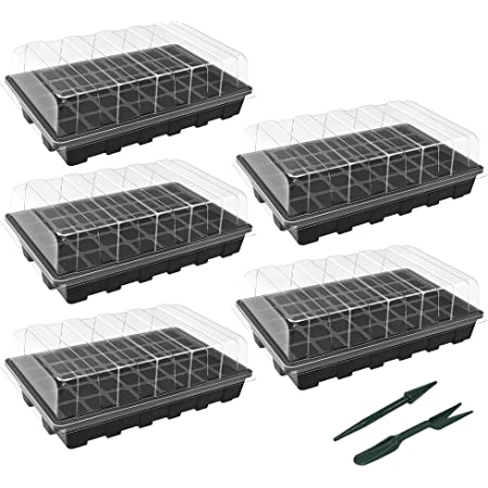 """Gardzen 5-Set Garden Propagator Set, Seed Tray Kits with 200-Cell, Seed Starter Tray with Dome and Base 15"""" x 9"""" (40-Cell Per Tray)"""