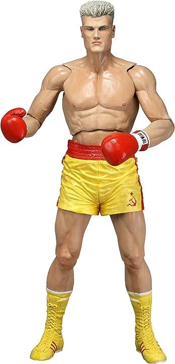 Ivan drago con pantaloncini gialli da rocky iv-rocky 40th anniversary serie 2 neca u.s.a. figura action 18cm 53076