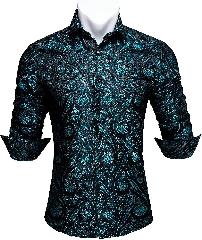 Barry.Wang Men Shirts,Paisley Flower Woven Silk Dress Shirt Long Sleeve Unique Design Formal/Leisure Wedding Party Prom