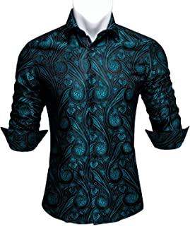 Barry.Wang Men Shirts,Paisley Flower Woven Silk Dress Shirt Long Sleeve Formal/Leisure