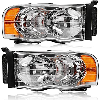 Amazon Com Oedro Headlights Assembly Replacement For 2002 2005 Dodge Ram 1500 2500 3500 Pickup Truck 2 Dr 4 Dr Headlamps Replacement Chrome Housing Amber Side Clear Lens Left Right 2 Yr Warranty Automotive