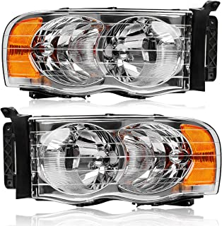 For 2002-2005 Dodge Ram 1500 Headlights,2003-2005 Dodge Ram 2500/3500 Headlamps/Light OEDRO Pick up Truck 2-Dr&4-Dr Chrome Housing Amber Side Clear Lens Left+Right, 2-Yr Warranty