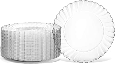 """100 Premium Hard Clear Plastic Plates Set By Oasis Creations - 6"""" Clear Round Disposable Plates - Washable and Reusable"""